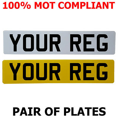 Pair Standard Number Plates 100% MOT Compliant - ROAD LEGAL
