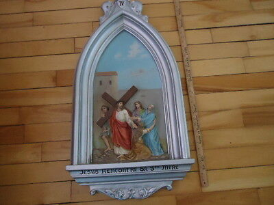 Antique Religious  Plaster  Station Of The Cross  # 4   Christian Church