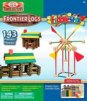 Ideal Frontier Logs And Fiddlestix Box 143-piece Classic Wood Building Set NEW