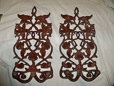 "Lot of 2 Vintage Cast Iron Wall Ornate Floral Rust Color Hook/Wall Hanger 16""x8"