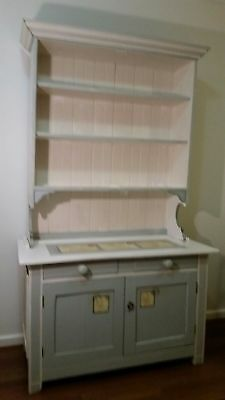 Vintage French Country Shabby Chic Buffet and Hutch Dresser Retro Stamp Prints