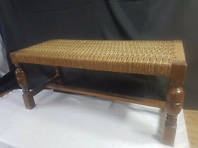Old Vintage Antique Oak Long Bench Foot Stool Twisted String Wicker Woven