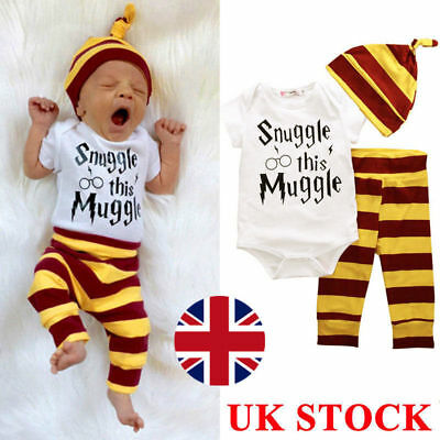 Harry Potter Snuggle This Muggle Baby Clothes Top Pants Beanie Outfit Set UK !