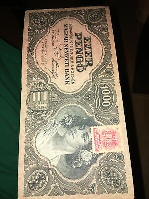 Hungary 1000 Pengo with Stamp Year 1945 Circulated FREE SHIPPING