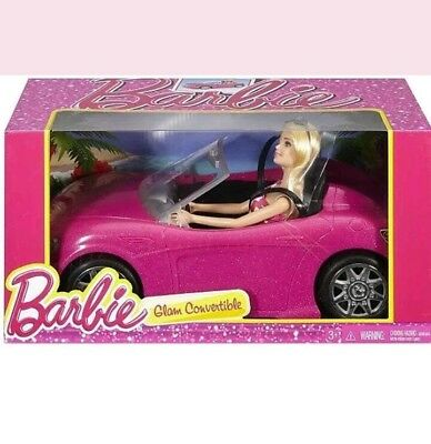 barbie glam pink convertible car and doll playset in box. Black Bedroom Furniture Sets. Home Design Ideas