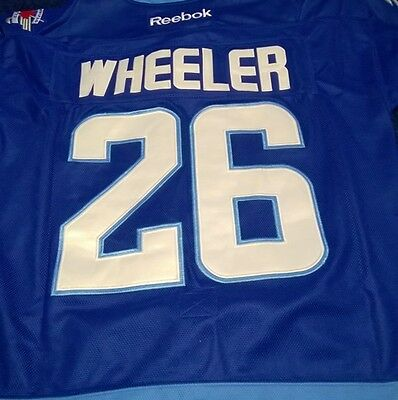 Slighty USED Wheeler  #26 Adult Size 48 Winnipeg Jets Home Blue Premier Jersey