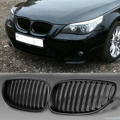 2x Front Kidney Grille Grills Gloss Black For BMW E60/E61 5 Series 03-10 UK