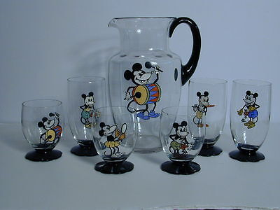 MICKEY MOUSE DECO GLASS 7 PIECE LEMONADE/ COCKTAIL GLASS SET GERMANY early 1930s