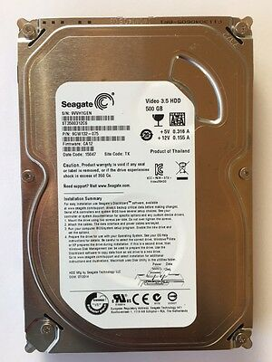 "Disco Duro 500Gb Segate  Sata  Video 3,5"" Hdd Usado"