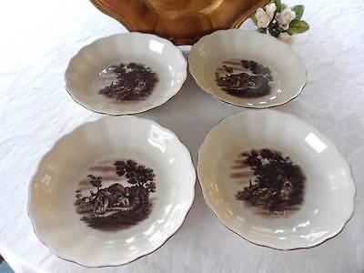 4 Coupe Soup Bowls: German Erphila-Ebeling Reuss Brown Pastoral Scenes 7.5""