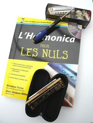 Pack Harmonica Hohner Marine Band Crossover C + Pour les nuls + tournevis TBE