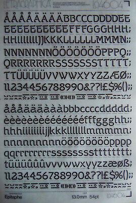 LETRASET Rub On LETTER Transfers EPITAPHE 54pt / 13mm (#LG4604) NEW