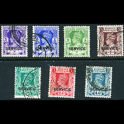 BURMA 1939 Officials 7 Values. (No 2a6p). SG O15-O22. Fine Used. (AM298)