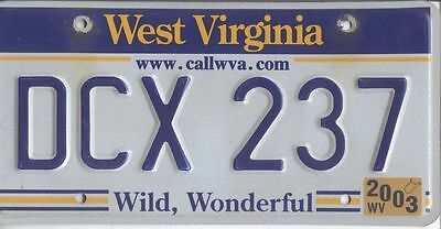 West Virginia 2003 Embossed License Plate Dcx 237 $15.99 No Reserve!