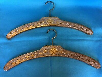 Pair fancy vintage shabby Italy gilt gold Florentine Wooden clothing hangers