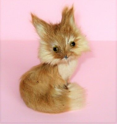 Small Vintage FUR FOX Figurine, Lot #1