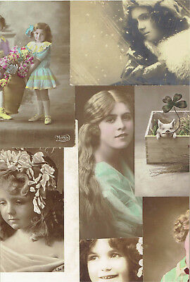 9 X OLD RP POSTCARDS OF CHILDREN 1900 - 1920s