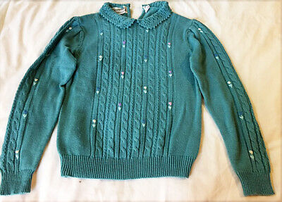 Vintage knit sweater and skirt set, teal, sz M