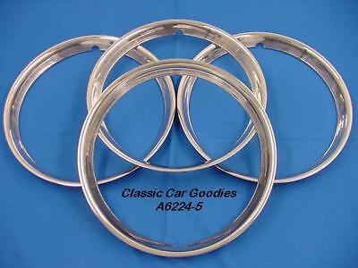 """Trim Rings Ribbed 15"""" Polished Stainless (4) Street Rod"""