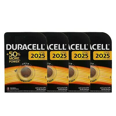 4 x Duracell CR2025 DL2025 3V Lithium Coin Cell Battery Long Lasting 2025