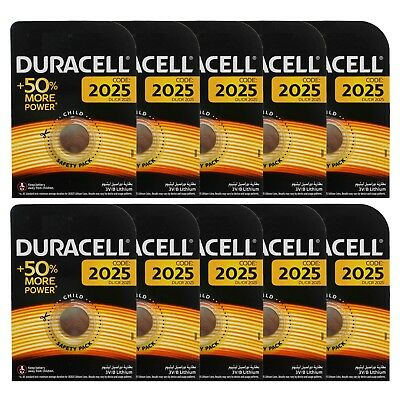 10 x Duracell CR2025 DL2025 3V Lithium Coin Cell Battery Long Lasting 2025