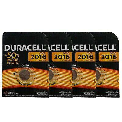 4 x Duracell CR2016 DL2016 3V Lithium Coin Cell Battery Long Lasting 2016