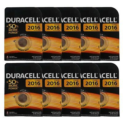 10 x Duracell CR2016 DL2016 3V Lithium Coin Cell Battery Long Lasting 2016