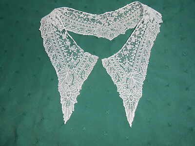 Antique White Net Lace Embroidered Collar In Fair Condition, Early 20Th.century