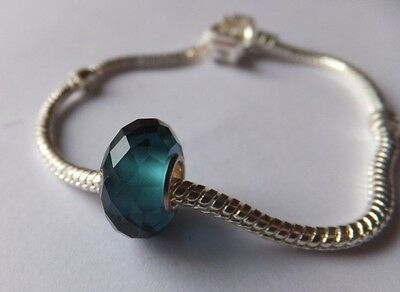 DARK BLUE CLEAR FACETED CRYSTAL  Murano Glass Bead .925 4mm Silver Core