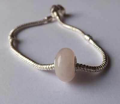 PALE BABY PINK Murano Glass Bead .925 4mm Silver Core