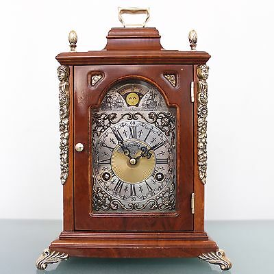MANTEL CLOCK WARMINK TOP! SQUARE Dutch Moonphase HIGH GLOSS 2 Bell CHIME Vintage
