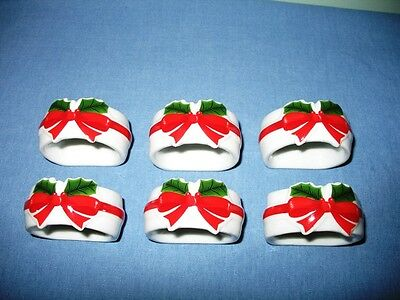 Set Of 6 Vtg. Christmas Napkin Rings-Holly & Bows-Mount Clemens Pottery-Japan!