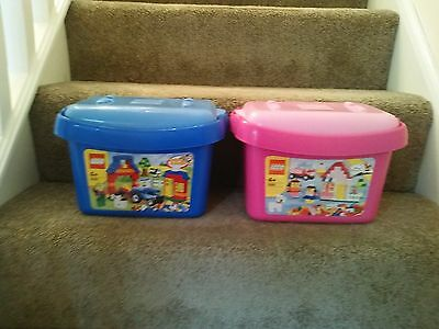 2x  Official  LEGO Storage Boxes  EMPTY TUBS Pink Blue