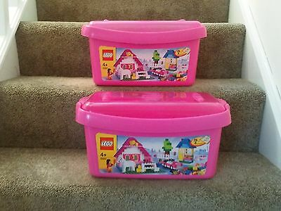 2x  Official  LEGO Storage Boxes  EMPTY TUBS Large Pink