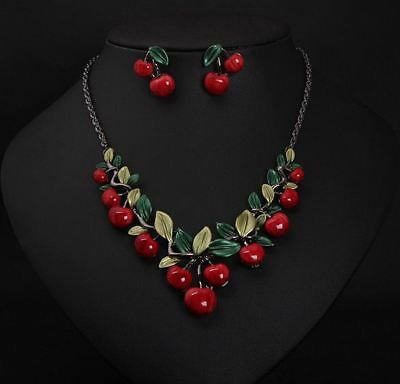 Red Cherry Jewelry Set Statement Pendant Necklace Stud Earrings