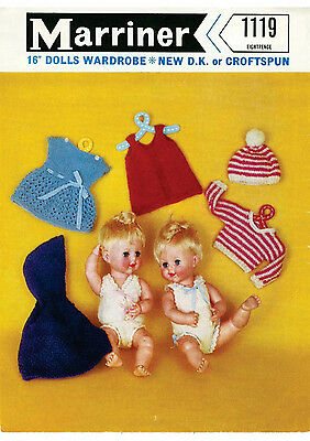 """Vintage Knitting Pattern Copy To Knit16"""" Dolls Outfit -1963 - 8 Ply Knitting"""
