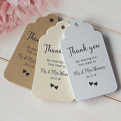 Personalised Wedding Favour Thank You First Meal Tags Ivory Cream, White, Kraft