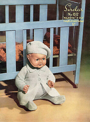 """VINTAGE KNITTING PATTERN COPY TO KNIT BABY BOY DOLL OUTFIT -1950's FOR 17"""" DOLL"""