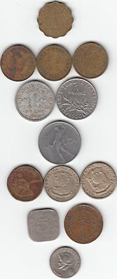 Lot Of vintage old Foreign Metal Coins Various Countries (13 coins)
