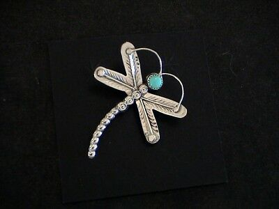 Auth.Native American Indian Sterling Silver/Turquoise Dragonfly Pin/ Juan Begay