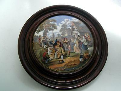 Staffordshire Prattware pottery Pot lid Village wedding framed 19thC