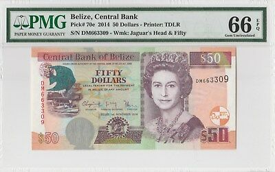 PMG 66epq 2014 BELIZE CENTRAL BANK  50 DOLLARS P70e