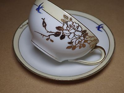 Nippon Bluebirds Fine China Cup Saucer Hand Painted Thick Gold Accents Excellent
