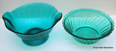 Pair of Jeanette Glass Company Ultramarine Swirl  Large Depression Glass Bowls