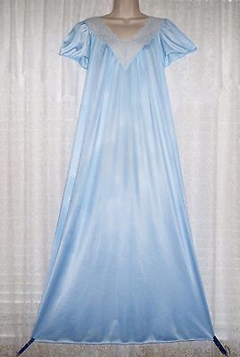 Vtg Blue Interludes by Cira Nylon Nightgown Gown Negligee with Lace Bodice S