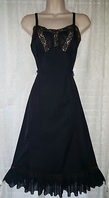 Vtg Black Sans Souci Pleated Sheer Chiffon Double Panel Full Slip with Lace 32
