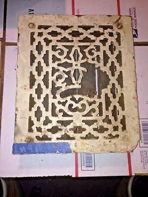 Square Cast Iron wall Floor Register Heat Grate antique vintage  louvered #9