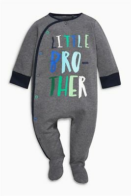 BNWT Baby Boys GREY Little Brother Sleepsuit 0-3 months NEXT