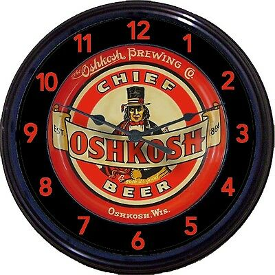Oshkosh Brewing Co Beer Tray Wall Clock Chief Oshkosh Wis Ale Brew Man Cave 10""