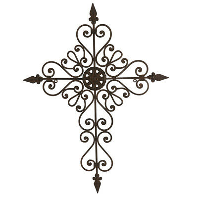 Scrolled Cross Metal Wall Art 68cm | Brown Fleur De Lis Cross Hanging Iron Decor